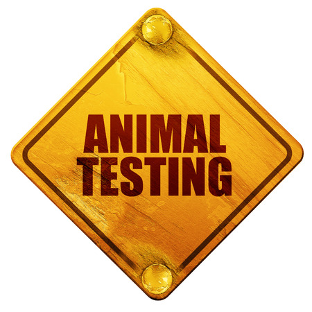 animal cruelty: animal testing, 3D rendering, yellow road sign on a white background Stock Photo