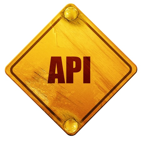 api: api, 3D rendering, yellow road sign on a white background