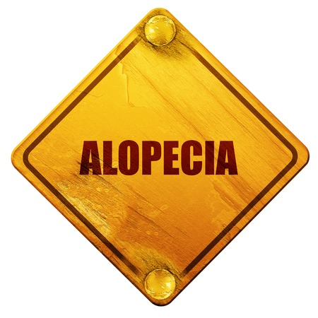 premature: alopecia, 3D rendering, yellow road sign on a white background Stock Photo