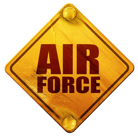 us air force: air force, 3D rendering, yellow road sign on a white background
