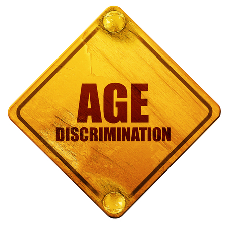 pension cuts: age discrimination, 3D rendering, yellow road sign on a white background