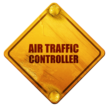 air traffic: air traffic controller, 3D rendering, yellow road sign on a white background