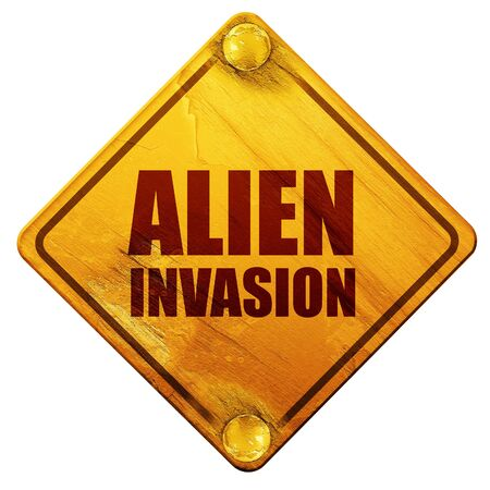 invasion: alien invasion, 3D rendering, yellow road sign on a white background