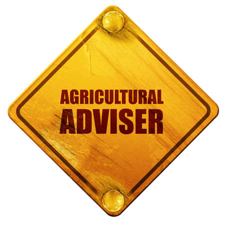 adviser: agricultural adviser, 3D rendering, yellow road sign on a white background