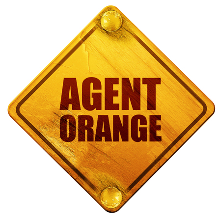 agents: agent orange, 3D rendering, yellow road sign on a white background
