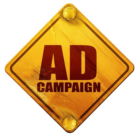 pm: ad campaing, 3D rendering, yellow road sign on a white background