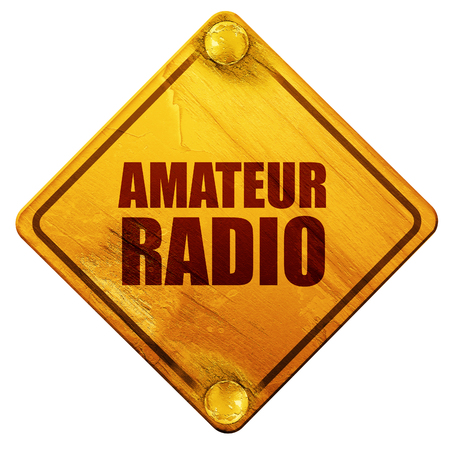 amateur radio, 3D rendering, yellow road sign on a white background