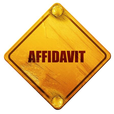 solicitor: affidavit, 3D rendering, yellow road sign on a white background Stock Photo