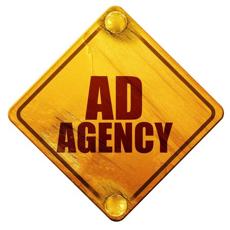 grungy email: ad agency, 3D rendering, yellow road sign on a white background Stock Photo