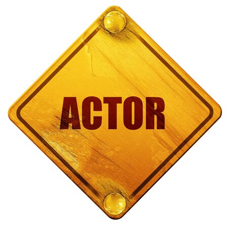 actor: actor, 3D rendering, yellow road sign on a white background