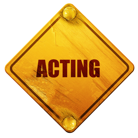 period costume: acting, 3D rendering, yellow road sign on a white background Stock Photo