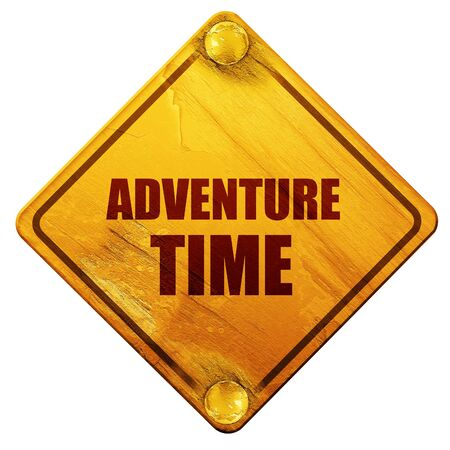 yellow adventure: adventure time, 3D rendering, yellow road sign on a white background Stock Photo