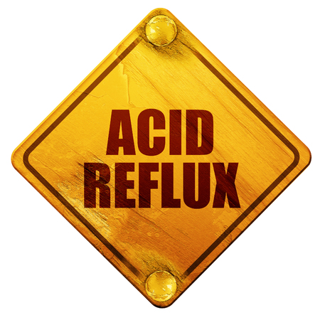 reflux: acid reflux, 3D rendering, yellow road sign on a white background Stock Photo