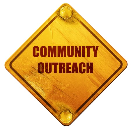 outreach: Community outreach sign with some smooth lines, 3D rendering, yellow road sign on a white background