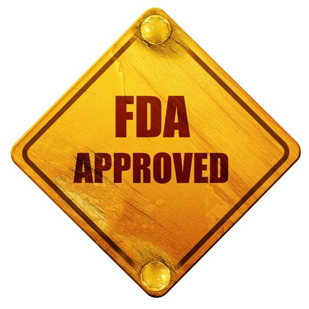endorsed: FDA approved background with some smooth lines, 3D rendering, yellow road sign on a white background Stock Photo