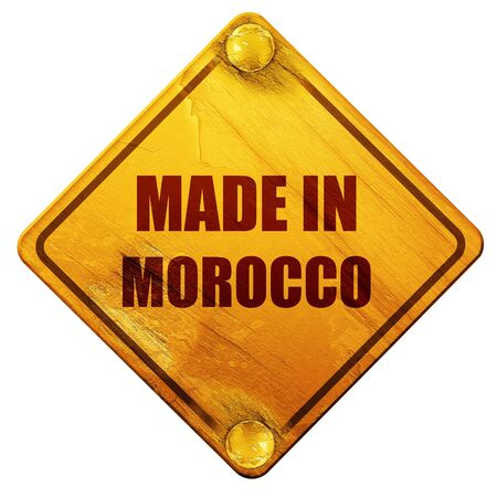 made in morocco: Made in morocco with some soft smooth lines, 3D rendering, yellow road sign on a white background Stock Photo