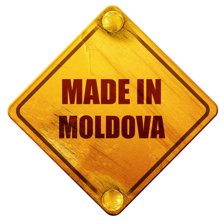 moldovan: Made in moldova with some soft smooth lines, 3D rendering, yellow road sign on a white background