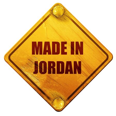 commerce and industry: Made in jordan with some soft smooth lines, 3D rendering, yellow road sign on a white background
