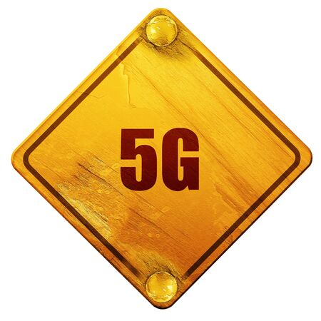 5g: 5g, 3D rendering, yellow road sign on a white background