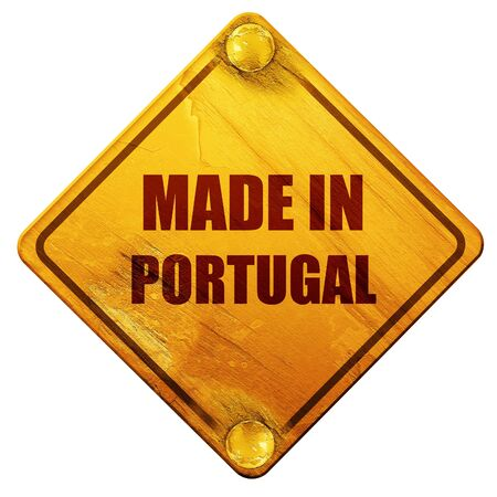 made in portugal: Made in portugal with some soft smooth lines, 3D rendering, yellow road sign on a white background