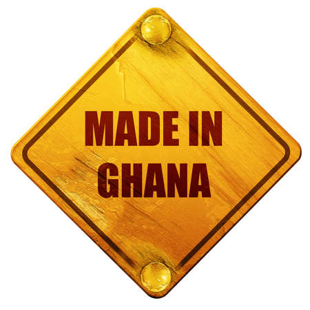 ghanese: Made in ghana with some soft smooth lines, 3D rendering, yellow road sign on a white background Stock Photo