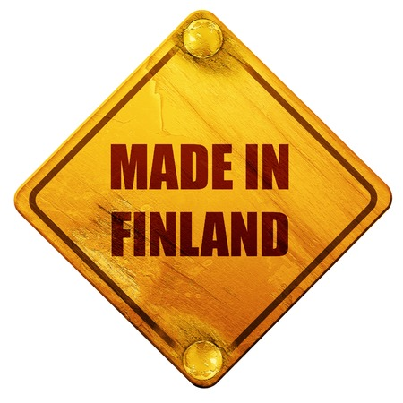made in finland: Made in finland with some soft smooth lines, 3D rendering, yellow road sign on a white background