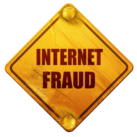 scammer: Internet fraud background with some smooth lines, 3D rendering, yellow road sign on a white background