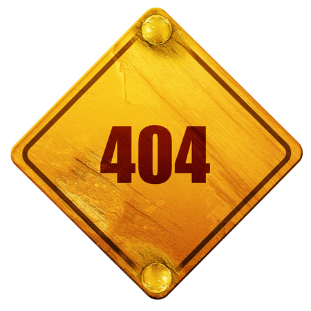 page not found: 404 page, 3D rendering, yellow road sign on a white background