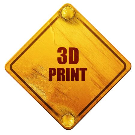 out of production: 3d print, 3D rendering, yellow road sign on a white background Stock Photo