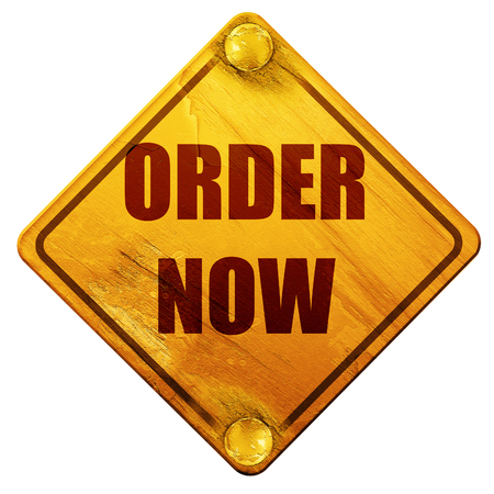 order now: Order now sign with some soft smooth lines, 3D rendering, yellow road sign on a white background