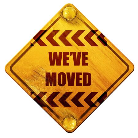 moved: Weve moved sign with some soft smooth lines, 3D rendering, yellow road sign on a white background