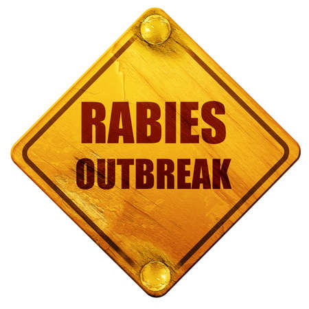 rabies: Rabies virus concept background with some soft smooth lines, 3D rendering, yellow road sign on a white background