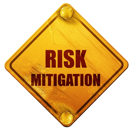 mitigation: Risk mitigation sign with some smooth lines and highlights, 3D rendering, yellow road sign on a white background