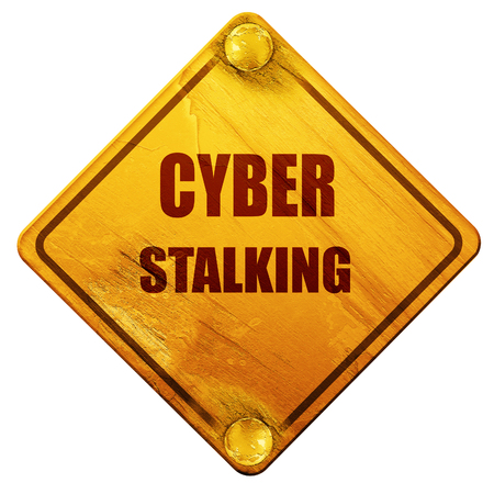 Cyber stalking background with some smooth lines, 3D rendering, yellow road sign on a white background