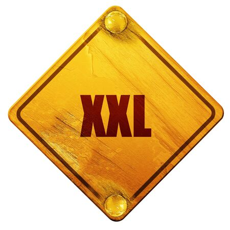 xxxl: xxl sign background with some soft smooth lines, 3D rendering, yellow road sign on a white background Stock Photo