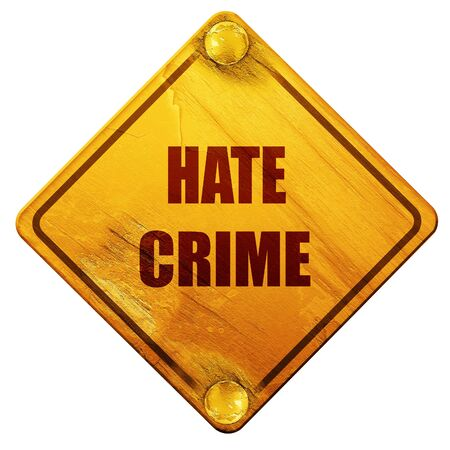 web scam: Hate crime background with some smooth lines, 3D rendering, yellow road sign on a white background