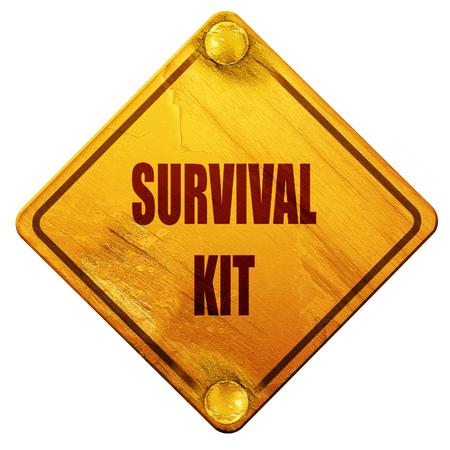 signo de supervivencia kit con algunas líneas suaves que fluyen, 3D, señal de tráfico amarillo sobre un fondo blanco