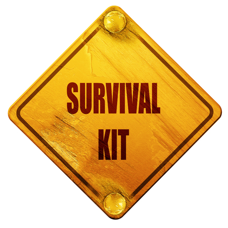 Survival kit sign with some soft flowing lines, 3D rendering, yellow road sign on a white background