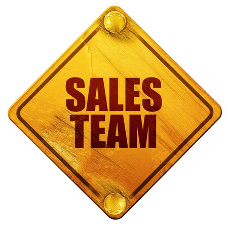 sales team: sales team, 3D rendering, yellow road sign on a white background Stock Photo