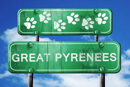 great pyrenees: Great pyrenees, 3D rendering, green road sign on blue sky Stock Photo