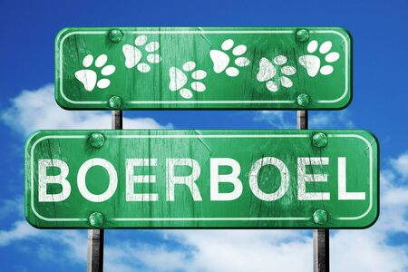 boerboel dog: Boerboel, 3D rendering, green road sign on blue sky