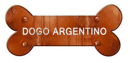 argentino: Dogo argentino, 3D rendering, rough brown dog bone