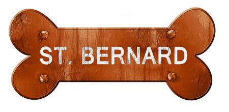 st bernard: St. bernard, 3D rendering, rough brown dog bone