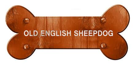 old english: Old english sheepdog, 3D rendering, rough brown dog bone Stock Photo
