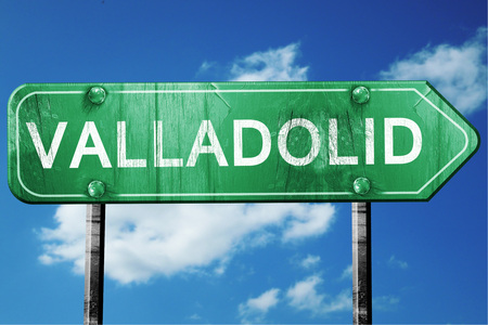 Valladolid, 3D rendering, green grunge road sign