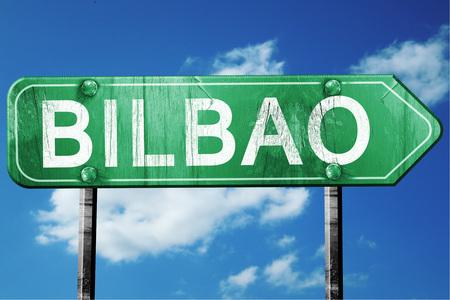 bilbao: Bilbao, 3D rendering, green grunge road sign Stock Photo