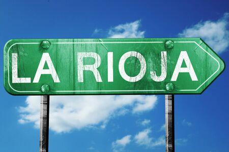 rioja: La rioja, 3D rendering, green grunge road sign Stock Photo