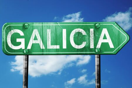 Galicia, 3D rendering, green grunge road sign