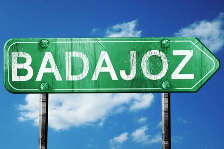 badajoz: Badajoz, 3D rendering, green grunge road sign