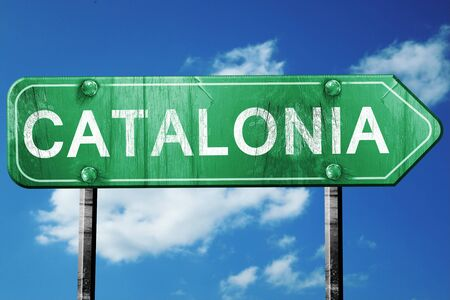 catalonia: Catalonia, 3D rendering, green grunge road sign